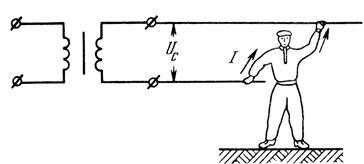 Рис. 169. Двухполюсное прикосновение к сварочной сети