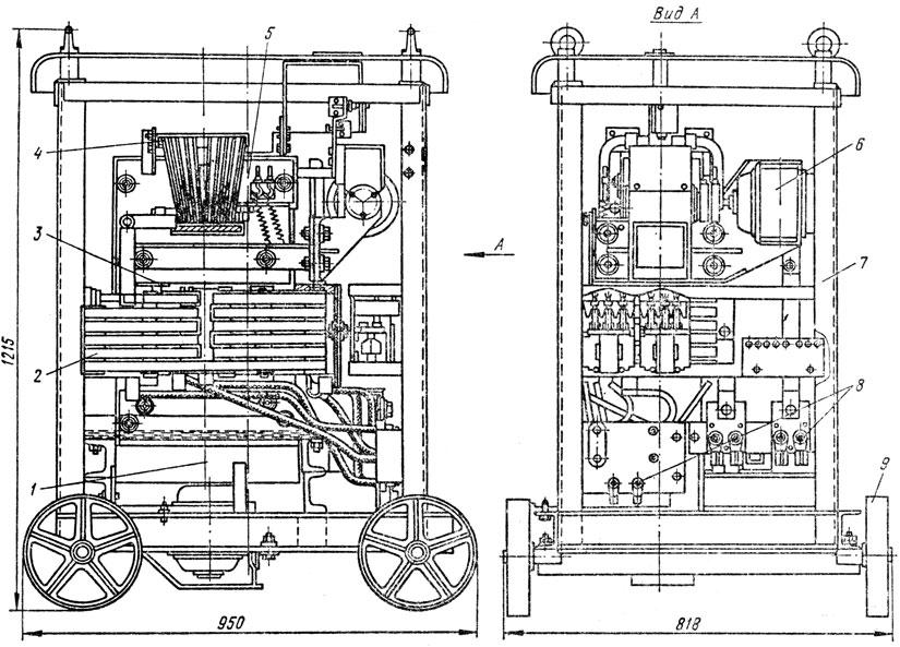 Рис. 62. Схема устройства трансформатора ТСД-1000-3: 1 - вентилятор; 2 - трансформаторные обмотки: 3 - магнитопровод; 4 - реактивная обмотки; 5 - подвижный пакет магнитопровода; 6 - механизм перемещения подвижного пакета; 7 - станина; 8 - зажимные панели; 9 - ходовая часть