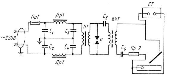 Рис. 73. Принципиальная электрическая схема осциллятора ОСПЗ-2М: СТ - сварочный трансформатор, Пр1, Пр2 - предохранители, Др1, Др2- дроссели, С, - С6 - конденсаторы, ПТ - повышающий трансформатор, ВЧТ - высокочастотный трансформатор, Р - разрядник